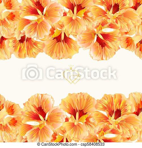 Floral Border Seamless Horizontal Background Spring Flower
