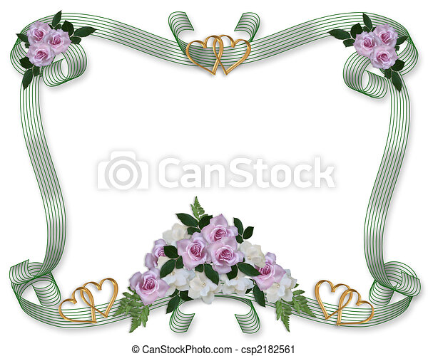 Floral Border Wedding invitation roses - csp2182561