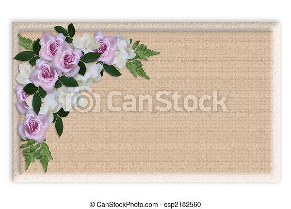 Floral Border Wedding invitation roses - csp2182560