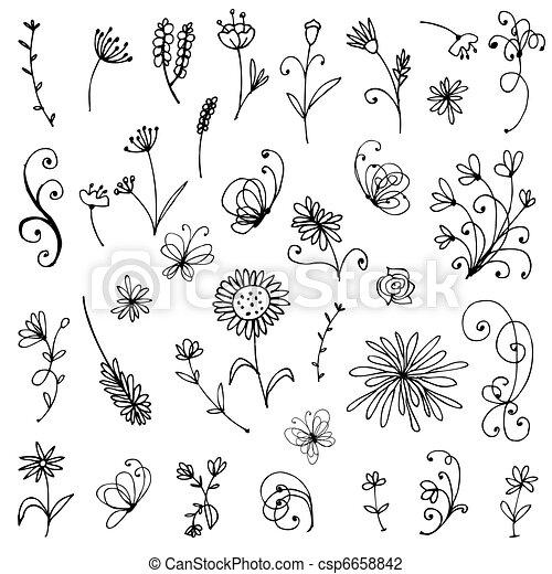 Un dibujo de elementos florales para su diseño - csp6658842