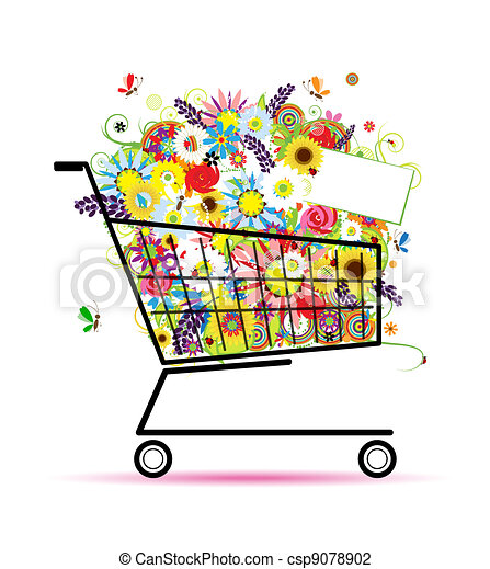 Floral bouquet in shopping cart for your design - csp9078902