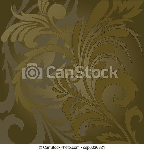 floral, bruine achtergrond - csp6836321