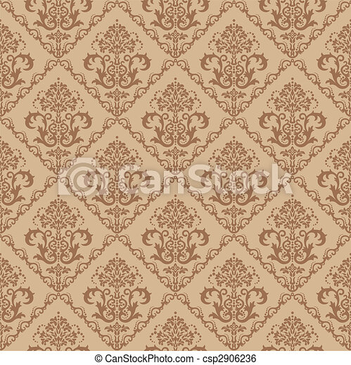 floral, brun, papier peint, seamless - csp2906236
