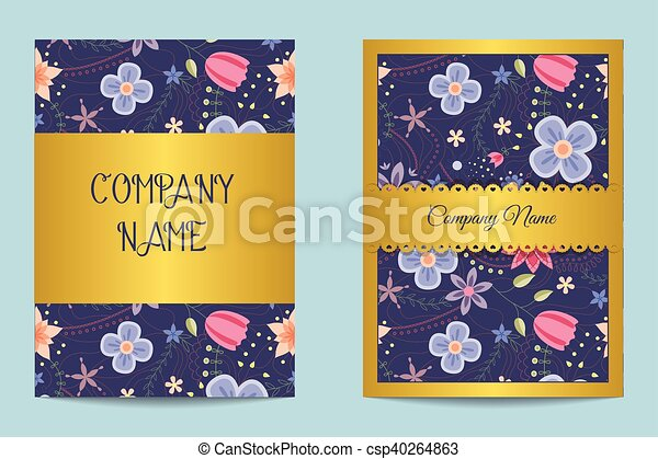 Vector floral business cards clip art vector search drawings and floral business cards csp40264863 colourmoves