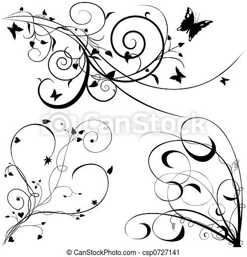 floral, c, éléments - csp0727141