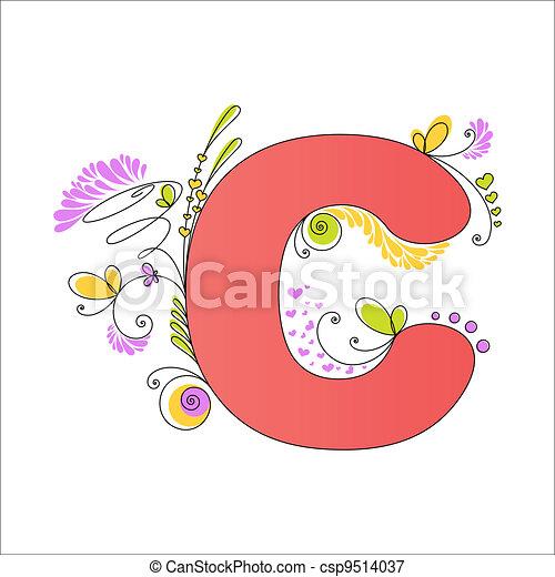 floral, c, alphabet., coloré, lettre - csp9514037