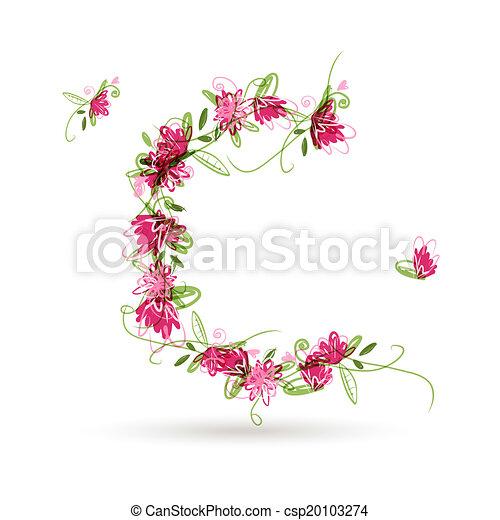 floral, c, conception, ton, lettre - csp20103274