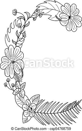 floral, c, ornement, lettre - csp54768759