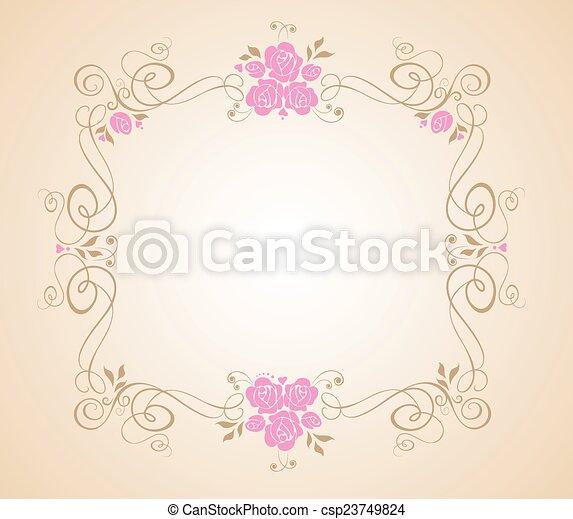 floral, cadre, mariage - csp23749824