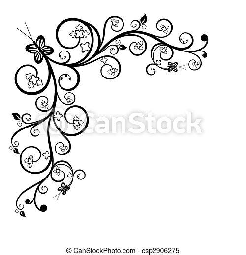 floral, canto, projete elemento - csp2906275