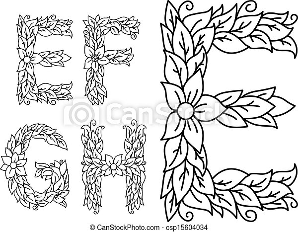 Floral capital letters e f g and h for design floral capital letters e f g and h csp15604034 altavistaventures Image collections