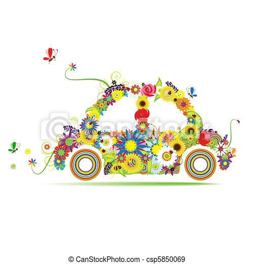 Floral car shape for your design - csp5850069