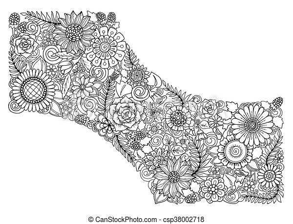 Floral Card Black And White Hand Drawn Pattern With Flowers For Web Invitation