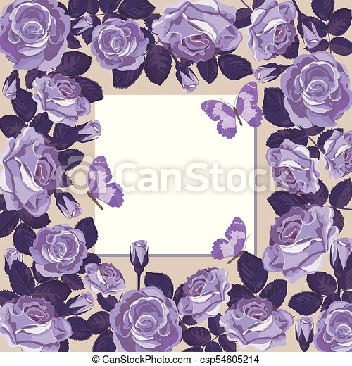 Floral Card Template With Empty Frame Floral Card Template With