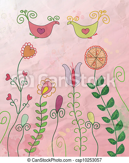 Floral card with birds on the paper texture - csp10253057
