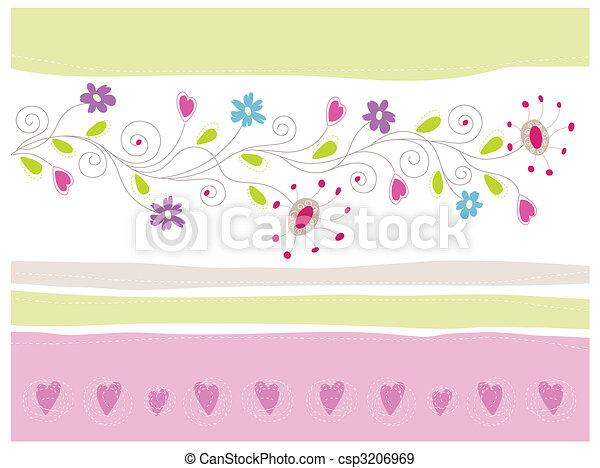 floral, cartão cumprimento - csp3206969