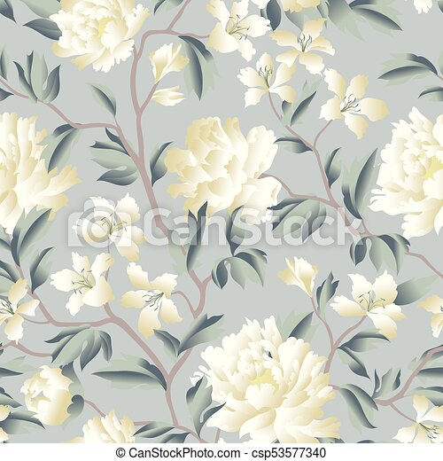Floral Chinese Seamless Pattern Wild Flower Background Flourish Wallpaper With Peony