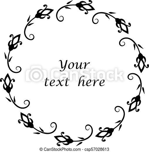 Floral circle frame vector. - csp57028613