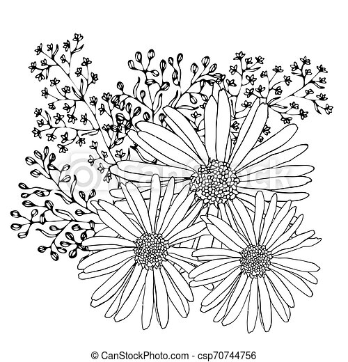 Floral Coloring Template With Black Line Flower. Printable Coloring Book  Pages. Coloring Sheets. Botanical Design Of Wedding CanStock