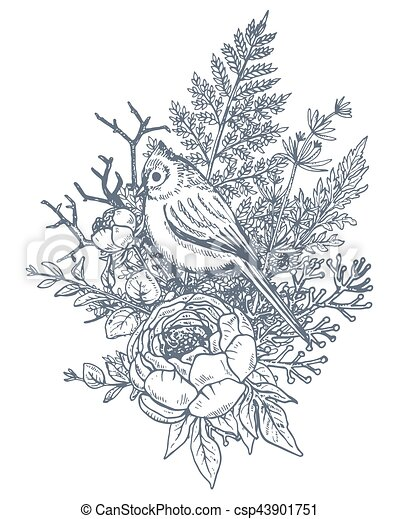 Floral Composition Bouquet With Hand Drawn Flowers Plants Birds