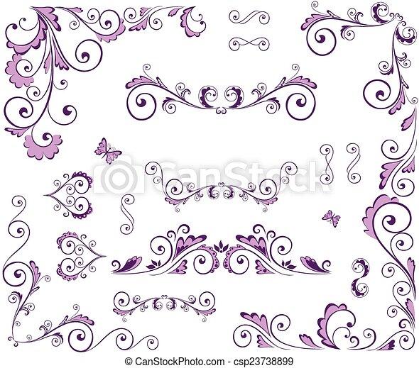 Un conjunto de elementos florales de belleza - csp23738899