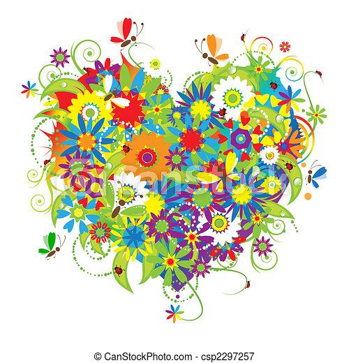 floral, coração, amor, forma - csp2297257