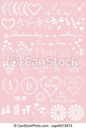 Diseños de corazón floral, vector fijado - csp44018474