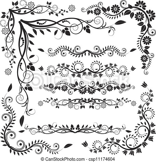floral corners and borders vector set https www canstockphoto com floral corners and borders 11174604 html