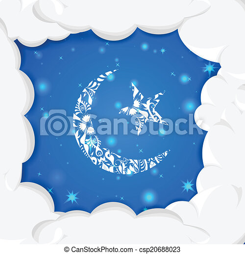 Floral Crescent Moon Of Eid Easy To Edit Vector Illustration Of
