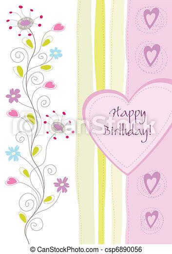 Feliz tarjeta de felicitación floral de cumpleaños - csp6890056