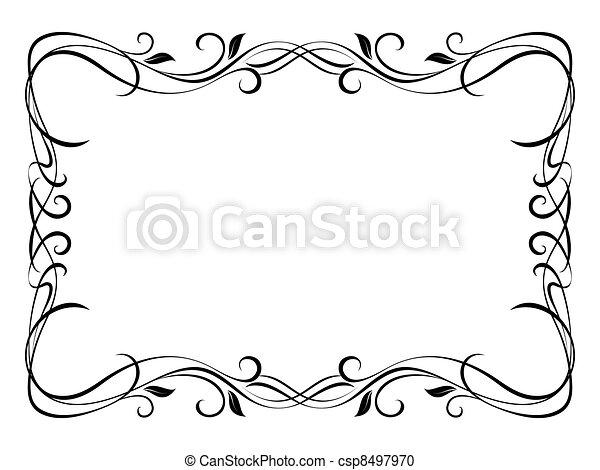floral, décoratif, décoratif, vecteur, cadre - csp8497970