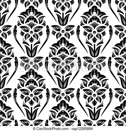 Floral Damask Wallpaper Black And White Seamless Vector