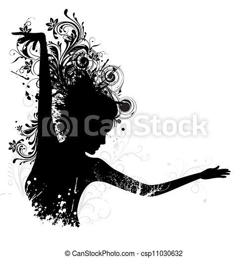 floral, dame, dancing - csp11030632