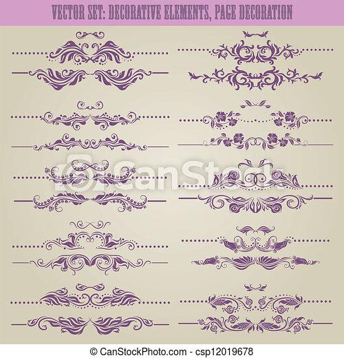 floral, decoratief, vector, set:, communie - csp12019678