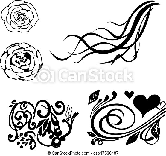 floral decorative corner set vector illustration floral set of decorative corner with swirl waves curls rose flowers https www canstockphoto com floral decorative corner set vector 47536487 html