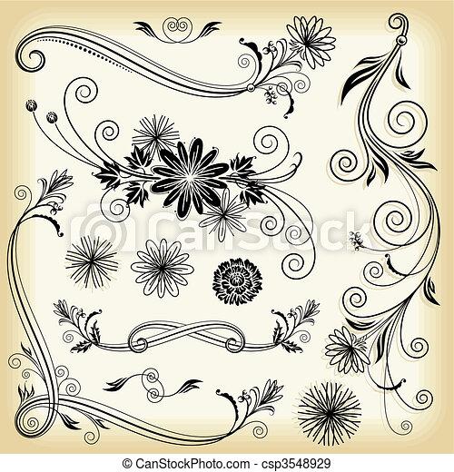 Floral Decorative Elements - csp3548929