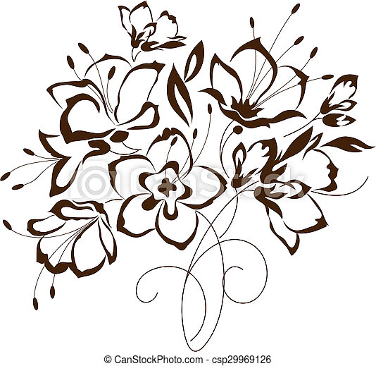 floral design, bouquet of stylized flowers - csp29969126