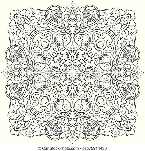 Floral Design Element Floral Medallion For Design Template For Carpet Wallpaper Textile And Any Surface Vector Black