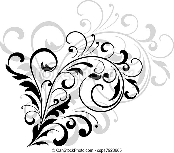 Floral Design Element With Swirling Leaves As A Simple Black