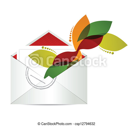 floral design envelope with papers - csp12794632