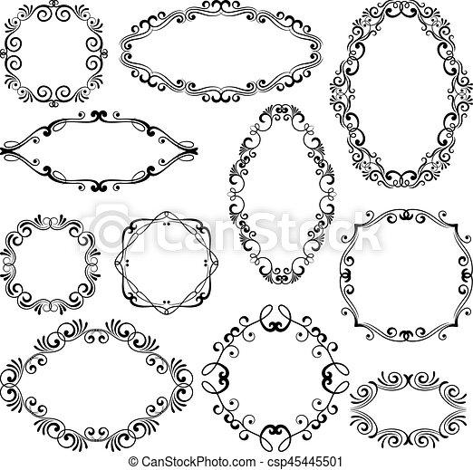 Floral design filigree frame elements. Vector black royal frames for menu or wedding invitations - csp45445501