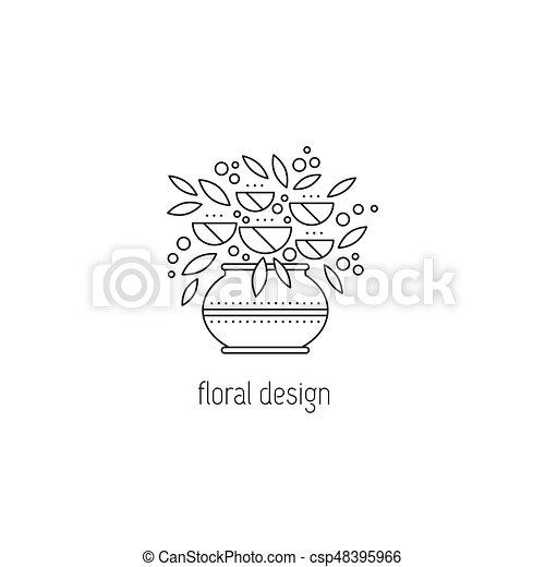 Floral Design Line Icon Floral Design Vector Thin Line Icon Vase