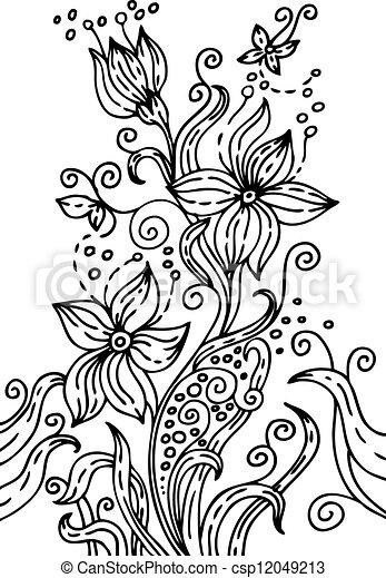 floral, dessiné, illustration, main - csp12049213