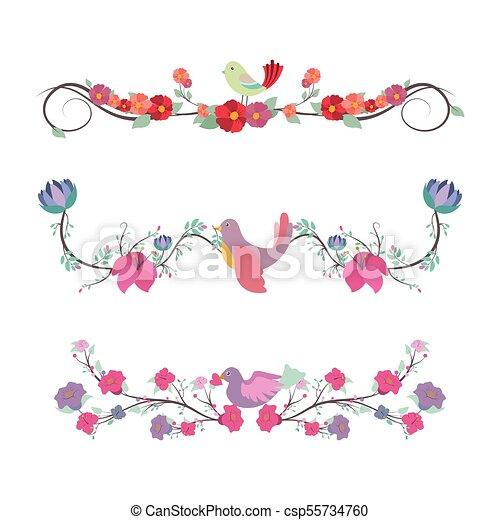 Floral divider set with birds - csp55734760