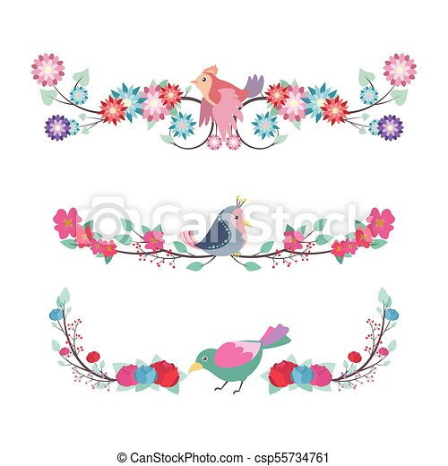 Floral divider set with colorful birds - csp55734761