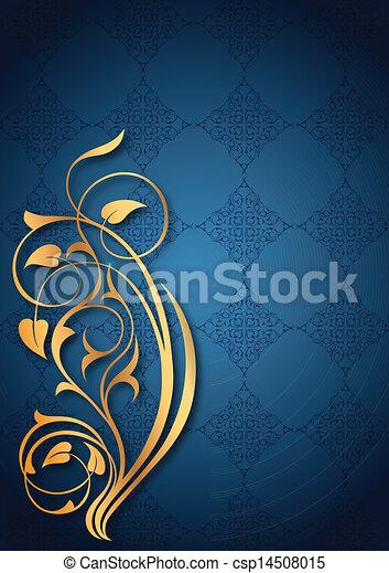floral, doré, bleu, motifs - csp14508015