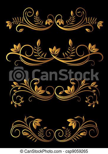 Elementos florales de oro - csp9059265