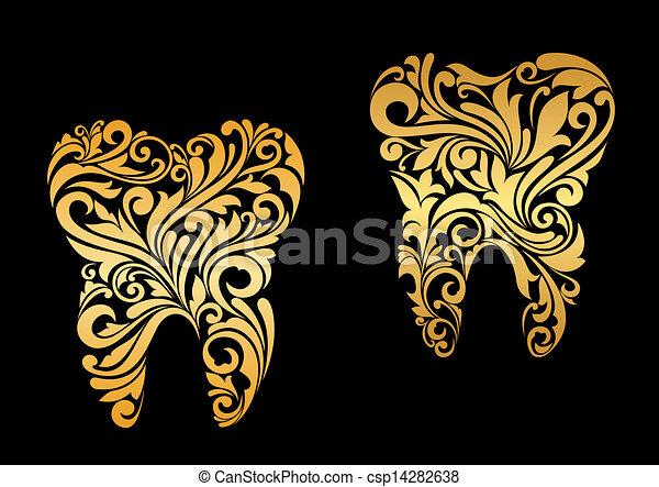 Dientes de oro al estilo floral - csp14282638