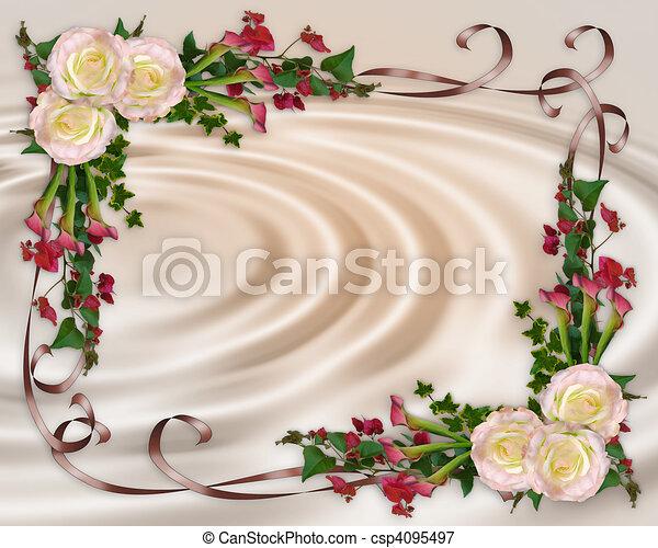 floral, elegante, invitación boda - csp4095497