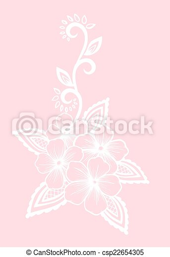 floral element. white flowers and leaves design element. Floral design element in retro style. - csp22654305